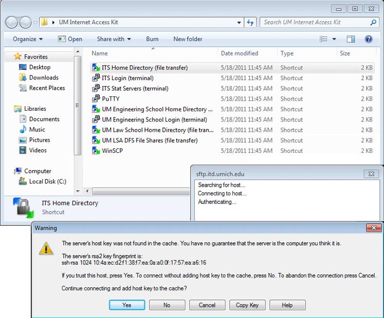 Screenshot of the warning window.