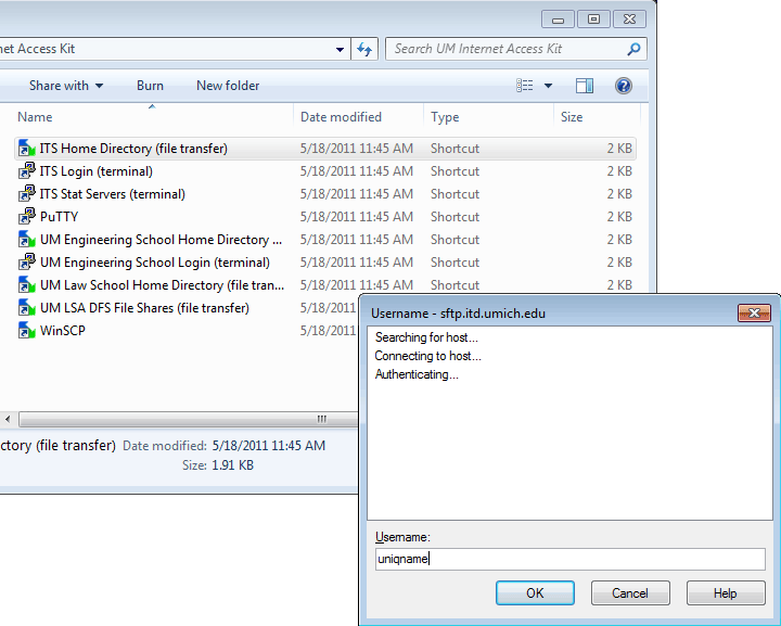 Screenshot of the IITS Home Directory shortcut.