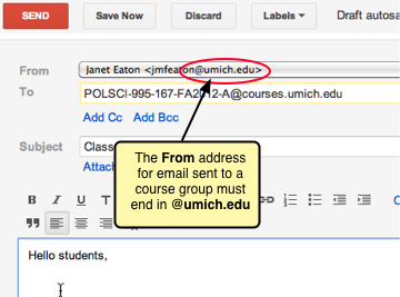 The From address must end in @umich.edu.