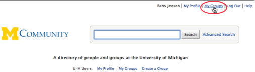 The My Groups link is in the upper right corner of the window.