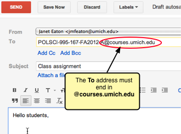 The To address must end in @courses.umich.edu.