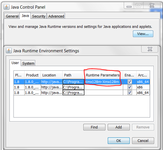 Java Control Panel - Runtime Parameters