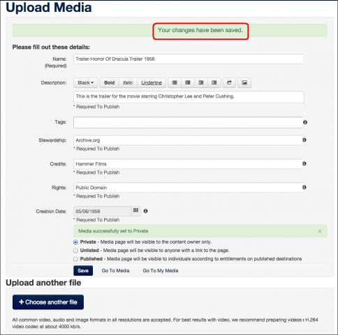 upload media window