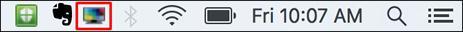 mac menu bar with MiWorkspace icon