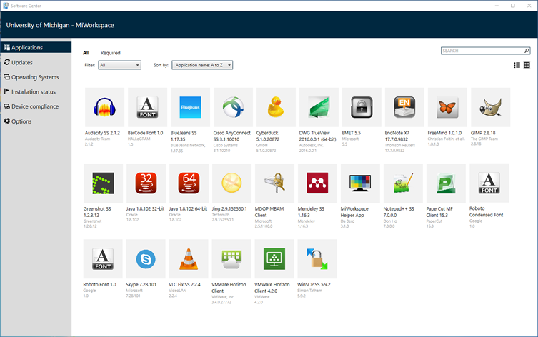 software center - applications tab