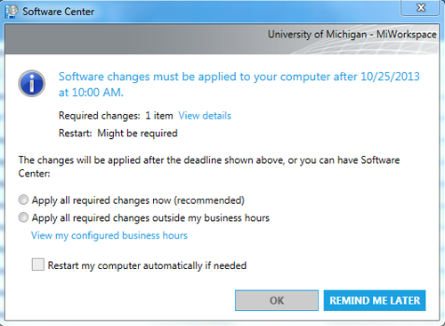 Software Center Apply Changes