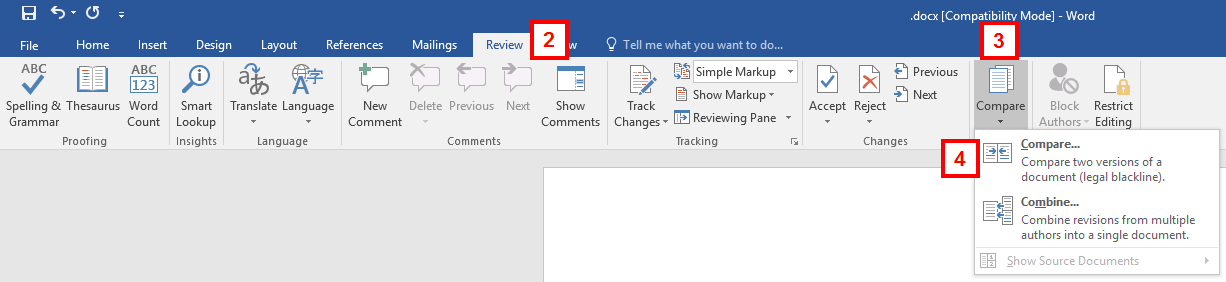 Word toolbar - review tab - track changes menu