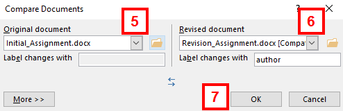 compare documents window