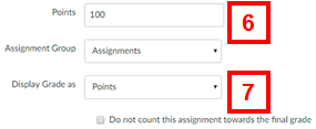 canvas - add assignment page (grading information section)