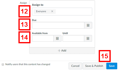 canvas - add assignment page (assign to information section)