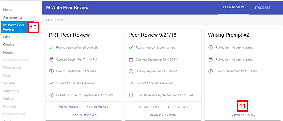 canvas - mwrite peer review tab with create rubric link