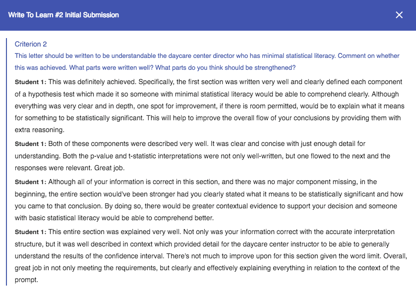 canvas - peer review page with sample student entry