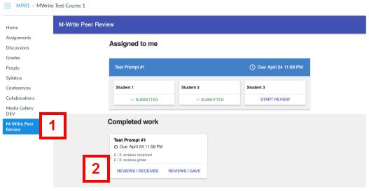 canvas - m-write peer review tab