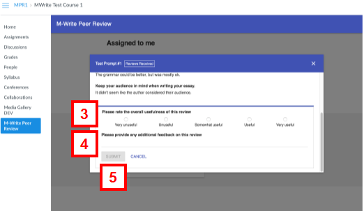 canvas - m-write peer review - review received/evaluation window