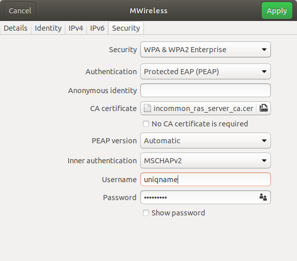 Screenshot of the Security tab on Linux