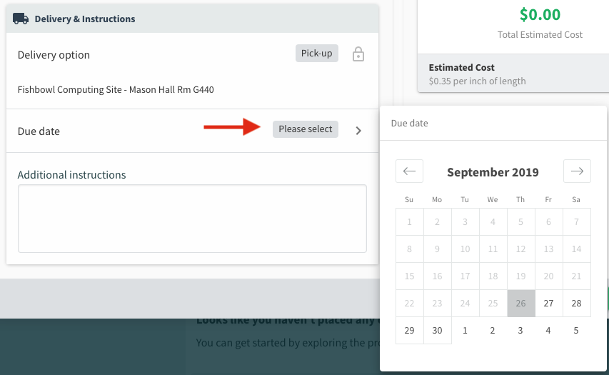 Use date picker to select a due date